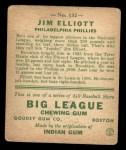 1933 Goudey #132  Jim Elliott  Back Thumbnail