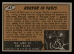 1962 Topps / Bubbles Inc Mars Attacks #41   Horror in Paris  Back Thumbnail