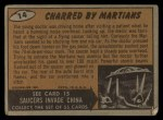 1962 Topps / Bubbles Inc Mars Attacks #14   Charred by Martians  Back Thumbnail