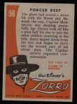 1958 Topps Zorro #58   Forced Rest Back Thumbnail