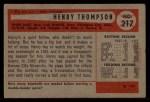1954 Bowman #217 ALL Hank Thompson  Back Thumbnail