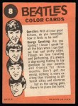 1964 Topps Beatles Color #8   Paul with George speaking Back Thumbnail