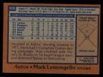 1978 Topps #358  Mark Lemongello  Back Thumbnail