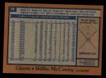 1978 Topps #34  Willie McCovey  Back Thumbnail