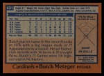 1978 Topps #431  Butch Metzger  Back Thumbnail