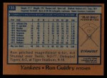 1978 Topps #135  Ron Guidry  Back Thumbnail