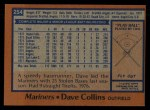 1978 Topps #254  Dave Collins  Back Thumbnail