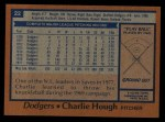 1978 Topps #22  Charlie Hough  Back Thumbnail