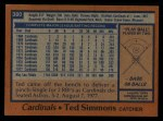 1978 Topps #380  Ted Simmons  Back Thumbnail
