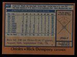 1978 Topps #367  Rick Dempsey  Back Thumbnail