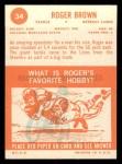1963 Topps #34  Roger Brown  Back Thumbnail