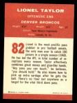 1963 Fleer #82  Lionel Taylor  Back Thumbnail