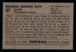 1952 Bowman Small #107  Maurice Nipp  Back Thumbnail