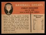 1961 Fleer #100  Stanley Coveleski  Back Thumbnail