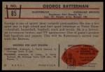 1953 Bowman #85  George Ratterman  Back Thumbnail