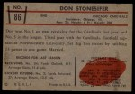 1953 Bowman #86  Don Stonesifer  Back Thumbnail