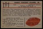 1953 Bowman #27  Harry Gilmer  Back Thumbnail
