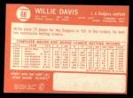 1964 Topps #68  Willie Davis  Back Thumbnail