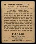 1941 Play Ball #21  Charlie Keller  Back Thumbnail