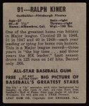 1948 Leaf #91  Ralph Kiner  Back Thumbnail