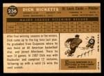 1960 Topps #236  Dick Ricketts  Back Thumbnail