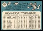 1965 Topps #404  Stan Williams  Back Thumbnail