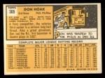 1963 Topps #305  Don Hoak  Back Thumbnail