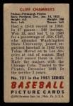1951 Bowman #131  Cliff Chambers  Back Thumbnail