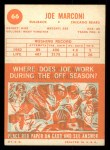 1963 Topps #66  Joe Marconi  Back Thumbnail