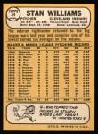1968 Topps #54  Stan Williams  Back Thumbnail