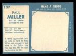 1961 Topps #137  Paul Miller  Back Thumbnail
