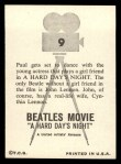1964 Topps Beatles Movie #9   Paul Dances With Actress Back Thumbnail