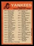 1973 O-Pee-Chee Blue Team Checklist #17   Yankees Team Checklist Back Thumbnail