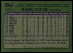 1982 Topps #421  Mark Clear  Back Thumbnail