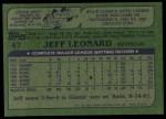 1982 Topps #47  Jeff Leonard  Back Thumbnail