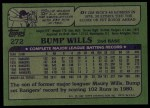 1982 Topps #272  Bump Wills  Back Thumbnail