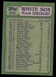1982 Topps #216   -  Chet Lemon / Dennis Lamp White Sox Leaders Back Thumbnail