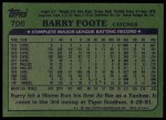 1982 Topps #706  Barry Foote  Back Thumbnail