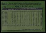 1982 Topps #732  Mike Lum  Back Thumbnail