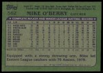 1982 Topps #562  Mike O'Berry  Back Thumbnail