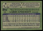 1982 Topps #52  Larry Andersen  Back Thumbnail