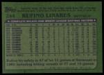 1982 Topps #244  Rufino Linares  Back Thumbnail