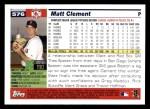 2005 Topps #576  Matt Clement  Back Thumbnail