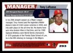 2005 Topps #293  Tony La Russa  Back Thumbnail