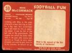1958 Topps #59  Mike McCormack  Back Thumbnail