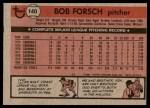 1981 Topps #140  Bob Forsch  Back Thumbnail
