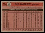 1981 Topps #40  Tug McGraw  Back Thumbnail