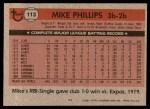 1981 Topps #113  Mike Phillips  Back Thumbnail