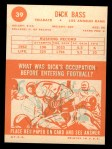 1963 Topps #39  Dick Bass  Back Thumbnail