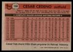 1981 Topps #190  Cesar Cedeno  Back Thumbnail